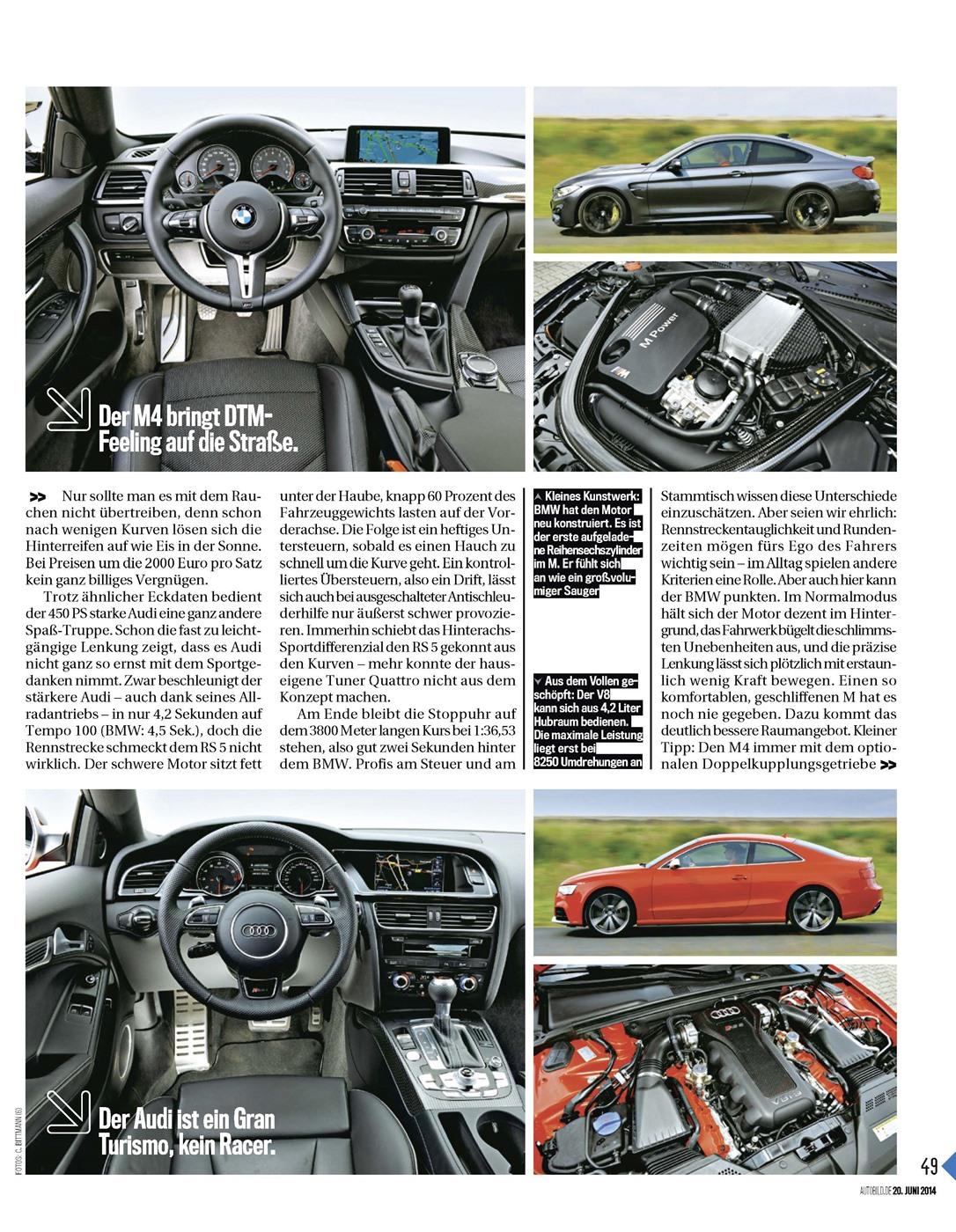 M4 (MT) vs RS5 (DSG) comparison review by Auto Bild