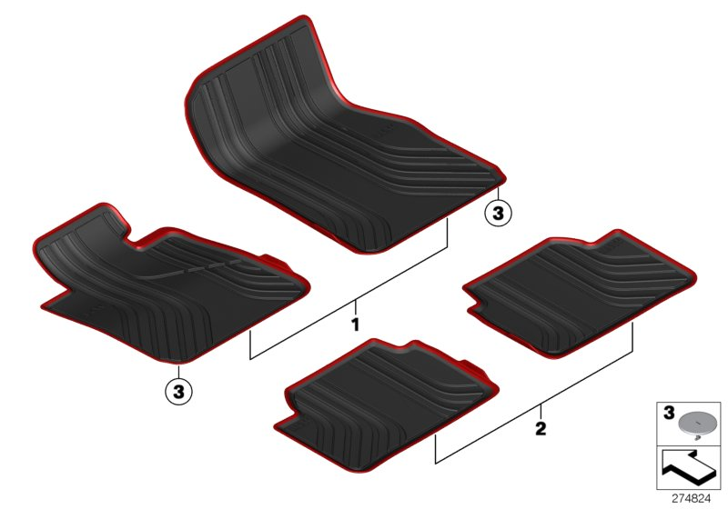 Oem Bmw All Weather Sports Line Floor Mats With Red Trim 100
