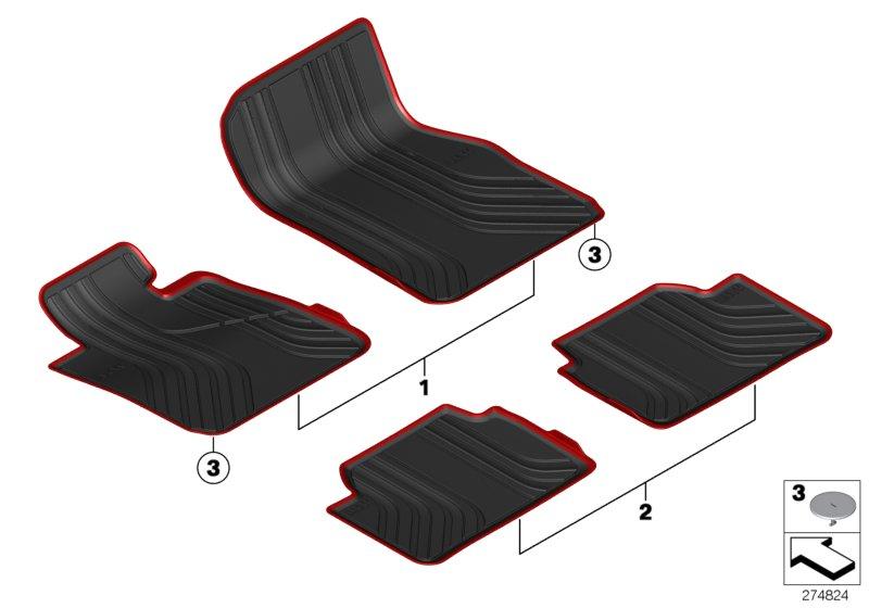 oem bmw all weather sports line floor mats with red trim 100. Black Bedroom Furniture Sets. Home Design Ideas