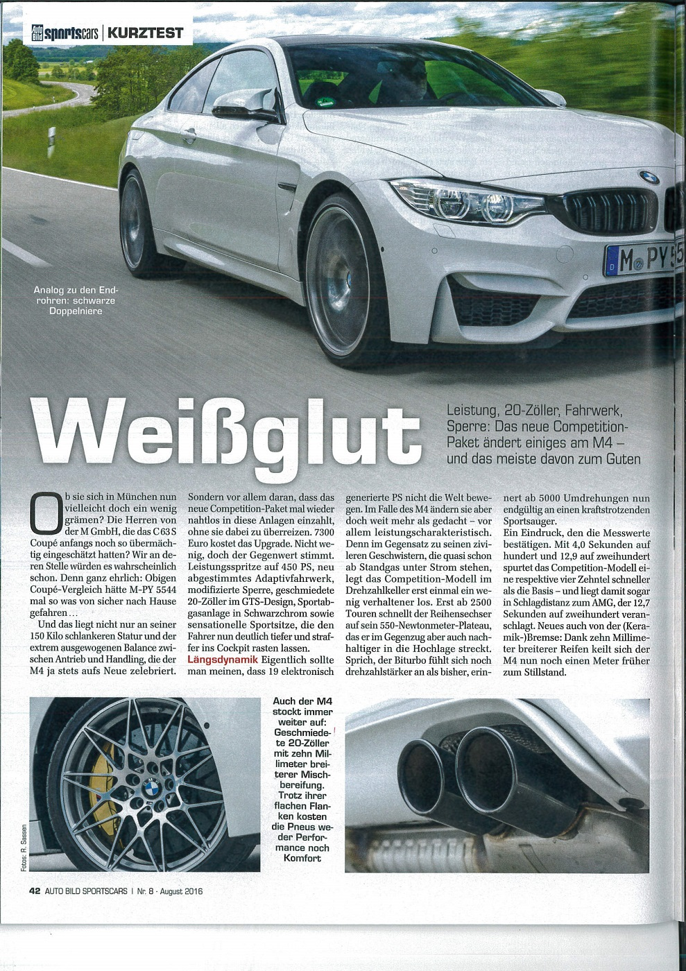 AutoBild and Sport Auto test M4 w/ZCP, conclude it\'s slower than ...