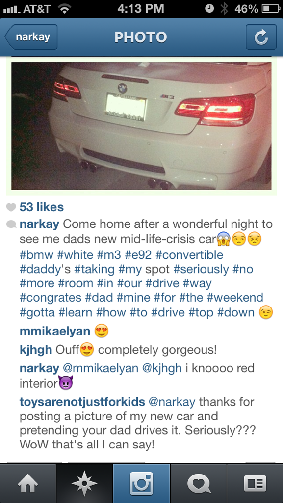 Some chick claiming another chicks M3 is her Dads car LMAO
