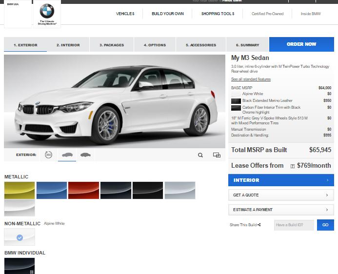 BMW USA M3 Configurator: Where'd the Individual Colors Go?